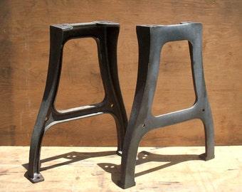 Vintage Industrial Table Legs / PAIR / Set of 2 / Raw Steel / Iron / Factory Machine Tool Legs / Table Legs / Desk Legs / Work Bench Legs