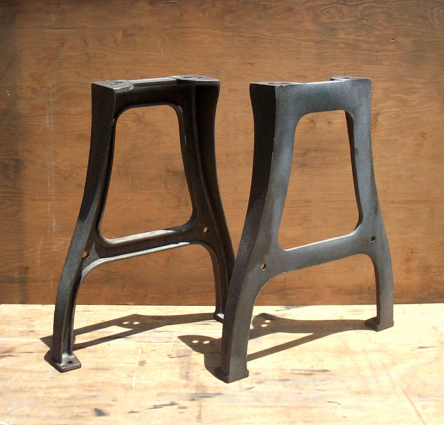 Vintage industrial metal factory table legs pair by for What to use for table legs