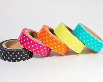 Washi Tape - Bright Polka Dots - Set of 5
