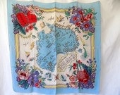 Vintage Scarf of Australia Map with Flowers & Fauna Midcentury