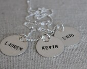 three names necklace, hand stamped jewelry, mothers necklace - personalized sterling silver discs, mommy jewelry, name tags, stamped names