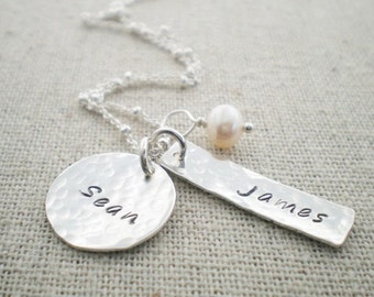 custom hand stamped names mothers keepsake necklace with two rectangle name tag charms lucky mom special gift for her