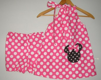 minnie Mouse pink  polka dot Swing dress&matching panty sizes  12, 18 months    2t,3t,5t,