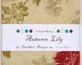 "ON SALE Autumn Lily Blackbird Moda Quilt Fabric Moda Charm Pack 42 squares 5"""