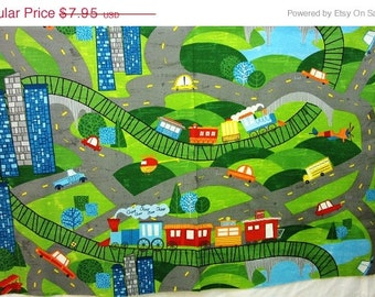 "on sale Scenic Trains & Cars On The Go  Quilt Fabric Panel 24"" x 44"""
