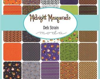 "ON SALE Midnight Masquerade Halloween Moda Charm Pack Quilt Fabric  42   5"""