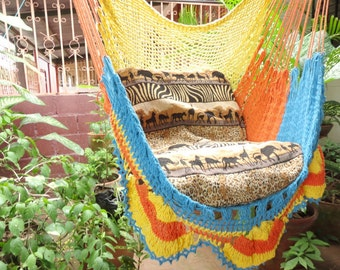Yellow Light Orange Turquoise Tricolor Sitting Hammock, Hanging Chair Natural Cotton and Wood plus Simple Fringe