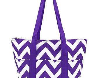 Insulated Purple and White Chevron pattern Lunch totes bags Back to School Personalized FREE