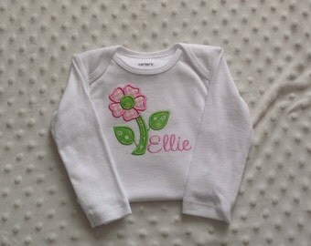 Baby Girl  Personalized Bodysuit ,  Pink Green Appliqued Flower