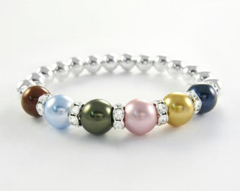 Mother's Beaded Birthstone Bracelet