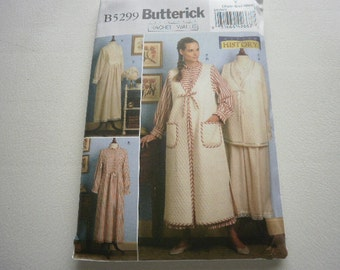Pattern Costume Ladies Nightgown Vest Robe Bonnet Sizes 4 to 14 Butterick 5299