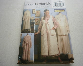 Pattern Costume Women Historical Nightgown Robe Vest Bonnet Sizes 16 to 22 Butterick 5299 A