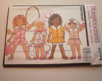 Pattern Vintage Child Girls Top Shorts Jumpsuit Sizes 4-5-6 Busybodies by Butterick 6094 A