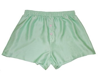 SIZE Large, La Lilouche LUX Mint Green Silk satin with Pale Pink Heart buttons, Men Boxers