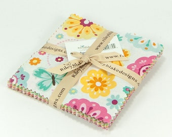 """Summer Song 2 5"""" Squares Charm Pack by Zoe Pearn for Riley Blake, 42 pieces"""