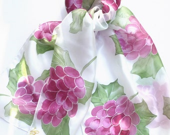 Red Grapes hand painted silk scarf.  Silk scarves handpainted.  Fruit silk scarf