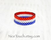 Independence Day peyote woven beaded ring ~ Made to Order