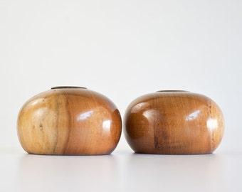 Vintage Mid Century Modern Rustic Wood Candle Holders
