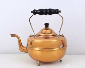 Vintage Made In England Copper Tea Pot , Vintage Tea Pot