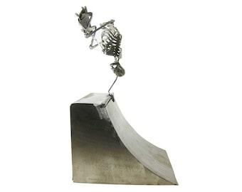 Zombie Skeleton Skateboarding on a Ramp