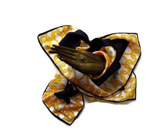 Vintage Square Fashion Scarf of Monique Martin - Italy Yellow Navy