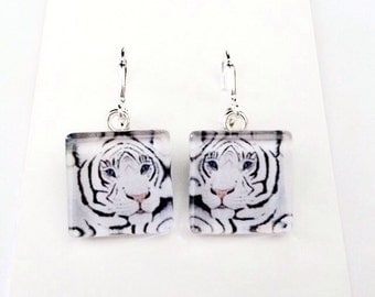 White Tiger/Original Art Earrings