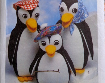 70s Stuffed Penguin Family Sewing Pattern Style 2012 UNCUT