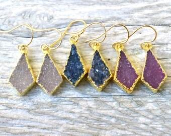 Druzy Earrings, Diamond Earrings