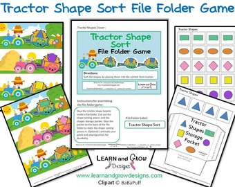 Farm Tractor Shape Sort File Folder Game