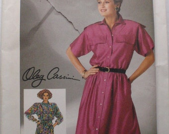 Oleg Cassini Shirtdress Sewing Pattern For Misses/Misses Petite - Simplicity 7367 - Size 12, Bust 34, Uncut