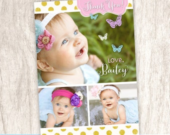 Butterfly Girls Thank You Photo Card, Chic Girl Photo Collage Thank You, Pastel Colors - DiY Printable || Butterfly Chic Shabby Sweet