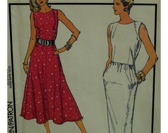 Fitted Bodice Dress Pattern, Sleeveless, Flared/Straight Skirt, Pockets, Style No. 1042 UNCUT Size 10 12 14 16