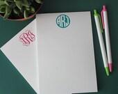 Personalized Monogram Notepad - Monogram Stationery -Script or Circle Monogram Wedding & Bridal Gift  - Desk - Notecards - Office Supply