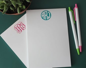 Personalized Monogram Notepad - Monogram Stationery -Script or Circle Monogram Wedding & Bridal Gift  - Desk - Notecards - Office Supply