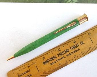 SHEAFFER'S Green Jade Pencil - Vintage Sheaffer Lifetime, Gold Filled
