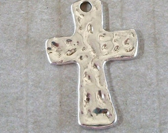 Cross Shiny Silver Hammered Pewter Pendant