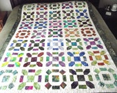 REDUCED 95 dollars off.  Unique Batik Bed Quilt by Sweet Tooth Quilts