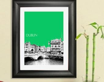 Dublin Skyline Poster #4 - Dublin City Center - Dublin Ireland City Skyline Art Print - 8 x 10 Choose Your Color