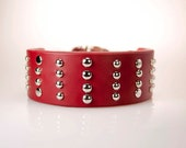 Wide Leather Dog Collar - 2inch Collar in Red Leather