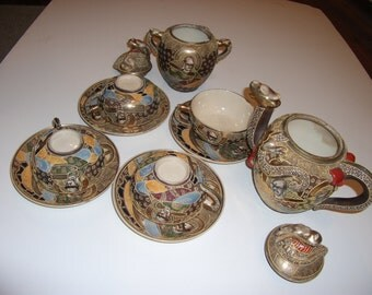 19th Century authentic Satsuma Tea Set with the Gold Cross mark on the Plates (1940-1950's)- 12 pieces, very unique and beautiful!!