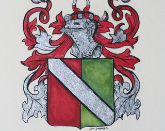 """8"""" by 10"""" Family Crest  -  from existing illustration or research"""