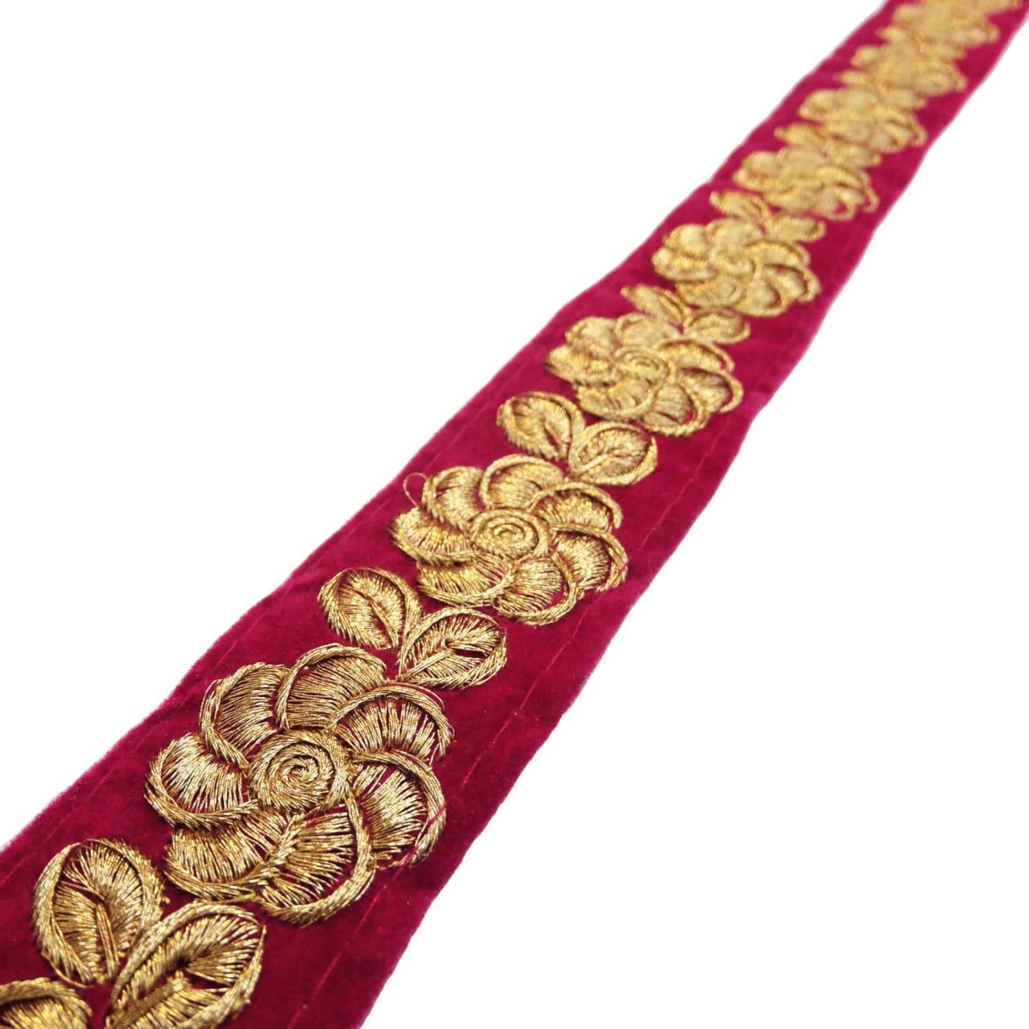 Magenta trim embroidered ribbon floral soft furnishings widht