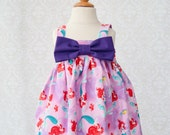 Rachel Swing Top - Mermaid with Purple Bow Detail - Size 7