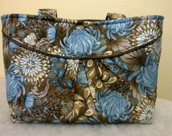 Purse With Pleated Feature Blue and Taupe Floral