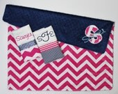Personalized DOUBLE MINKY CHEVRON Baby Girl Blanket Plus 2 Burp Cloths - Pink and Navy