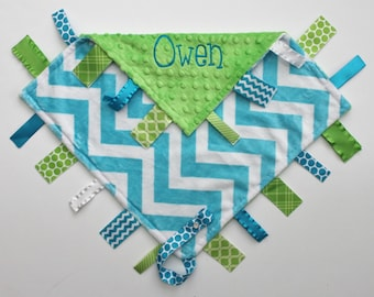 Personalized  DOUBLE MINKY Ribbon Tag Blanket in Turquoise Chevron and Lime Green - Pacifier Clip, Large 16 x 16