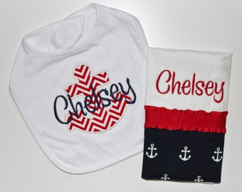 Personalized Baby NAUTICAL Anchor set INCLUDES Bib and Burp Cloth - Red and Navy