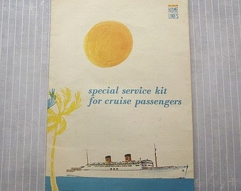Vintage Cruise Ship Memorabilia, 1968 Home Lines, SS Homeric Passenger Folder, Luggage Tags, Cruise Ephemera, Nautical Maritime Collectible