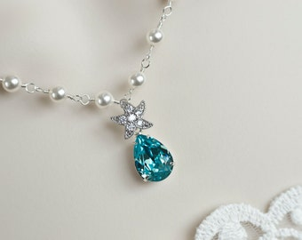 Starfish Necklace,CZ Starfish, Swarovski Pearls and Turquoise Swarovski Crystal Teardrop ,Bridal Bridesmaids Necklace,Beach Wedding Necklace
