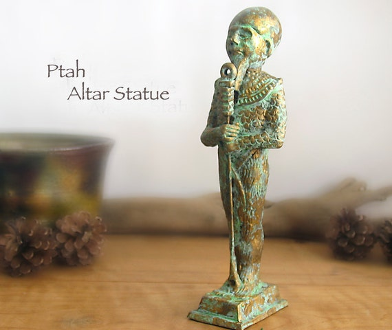 Ptah Altar Statue - Patron of Creation and Artisans - Standing Form - Kemetic Altar Statue with Aged Brass Patina